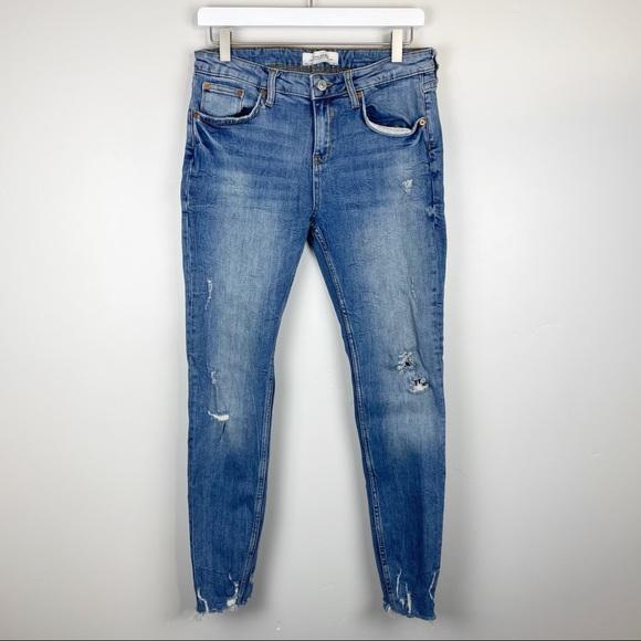 Zara Destroyed Ankle Skinny Jeans Size 10